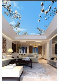 Beautiful Modern Bedding Australia - Custom 3D photo ceiling zenith interior decorative mural HD beautiful blue sky white clouds flower bed bedroom ceiling zenith mural