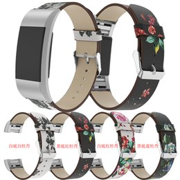Replacement Bracelet Watch Bands Australia - Retro Peony Printing Leather Band Strap For Fitbit Charge 2 Bracelet Band Replacement Watch Wristbands For Charge 2 Smart Watch