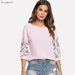 striped printed blouse Australia - Pink Summer Tops For Women Clothes Flower Print Lantern Sleeve Striped Blouse Beach Ladies Fashion Shirts Blouses