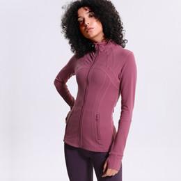 2019 Yeni Koşu Ceketler kadın Spor Yüksek Streç Yoga Ceket Dikişsiz Spor Üst Spor Giyim Naylon Zip Tişörtü Kadınlar indirimde