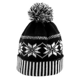 Cuffed Knit Beanies UK - Women Men Winter Cuffed Knitted Hat Classic Snowflake Striped Geometric Pattern Beanie Cap With Fluffy Pompom Ball