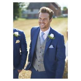 Blue Suit Yellow Tie Australia - One Buttons Blue Groom Tuxedos 2019 Peak Lapel Groomsmen Best Man Suit Mens c (Jacket+Pants+Vest+Tie)