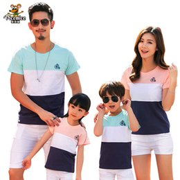 $enCountryForm.capitalKeyWord Australia - Family Clothing Outfits Fashion Striped Summer Short sleeve T-shirt Matching Family set For Mother Daughter And Father Son