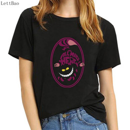 2348c7406 camiseta Vogue t shirt women black 100% cotton Smile Cheshire Cat Alice  Adventure in Wonderland tshirt angel top tee shirt femme