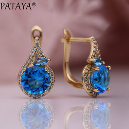Discount fine horse - PATAYA New Women Fine Noble Horse Eye Dangle Earrings 585 Rose Gold Round Blue Natural Zircon Wedding Party Cute Fashion