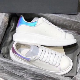 Best White Bags Australia - Best quality Designer Shoes White Platform Sneakers Reflective 3M Oversized Sneakes Low top Leather Trainers SZ 4-11 with dust bag 25 color