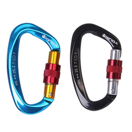 Rock masteR online shopping - New Arrival KN Mountaineering Caving Rock Climbing Carabiner D Shaped Safety Master Screw Lock Buckle Escalade Equipement