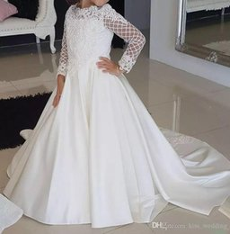 $enCountryForm.capitalKeyWord Australia - Elegant A Line Bridal Party Gowns Flower Girls Dresses for Wedding Lace Fluffy 2019 Kids Pageant First Communion Wear
