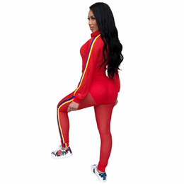 $enCountryForm.capitalKeyWord UK - Transparent Mesh Two Piece Set Sexy Women's Sets Long Sleeves Top and Pants 2 Pieces Set Fashion Stripes Tracksuit