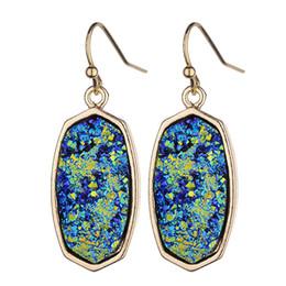 Black Sapphire Stud Earrings UK - Cross-border supply of geometric resin imitation crystal simple pendant female earrings Amazon ins