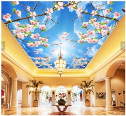 $enCountryForm.capitalKeyWord Australia - WDBH 3d ceiling mural wallpaper custom photo Beautiful flower cherry blossom sky room home decor 3d wall murals wallpaper for walls 3 d