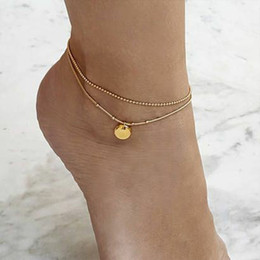 anklet women Australia - Bohemian Retro Beaded Chain Round Pendant Gold Silver Double Anklet Fashion Jewelry Beach Accessories for Women