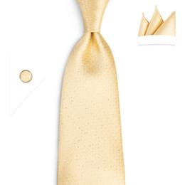 $enCountryForm.capitalKeyWord NZ - Hi-Tie New Ties Gold Solid Tie Pocket Square Cufflinks 100% Silk Handmade High Quality 150cm Necktie Wedding Christmas ties SN-7024