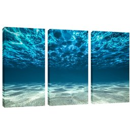 Chinese  Amosi Art Blue Ocean Sea Wall Art 3 Panel Canvas Prints Picture Seaview Bottom Pictures Painting On Canvas Modern Home Office Decor Framed manufacturers