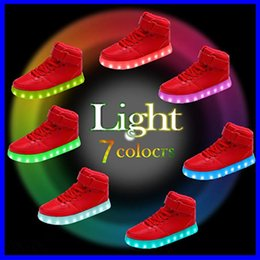 $enCountryForm.capitalKeyWord NZ - LED Shoes High Top Casual AF One Sneakers Men Fashion Luminous Skateboard USB Charging Light up Dancing Shoes for Women Girls