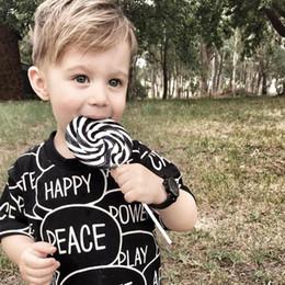 T Shirts Models Australia - 2019 summer new ins explosion models black text printing cotton t-shirt children boys and girls baby short-sleeved T shirts