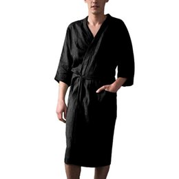 nightgown sleepwear kimono NZ - Linen Men Robes Gown New Male Kimono Bathrobe Sleepwear Nightwear Pajamas solid color Plus Size Summer Male Nightgown 3XL 5.2A