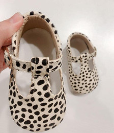 baby moccasins soft sole NZ - New Genuine Leather Shoes Leopard Print Girls Soft Sole Boys First Walkers T- Bar Summer Baby Moccasins Q190525