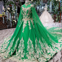 $enCountryForm.capitalKeyWord Australia - 2019 Latest Muslim Evening Dresses Long Tulle Sleeve High Neck Lace Up Back Long Lace Applique Shawl Crystal Pattern Luxury Formal Prom Gown