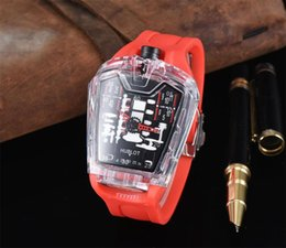 Wholesale HB Mens Fashion Large Face Skull Watches With Bracelet Link Band Stylish Cool Stainless Steel o