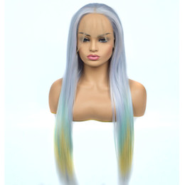 Green Color Lace Wig Australia - New Style Straight Synthetic Lace Front Wig Mix Light Blue Green Yellow Three Color Heat Resistant Fiber For Women