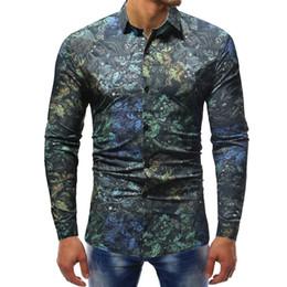 9892f6c5f6c1 Fashion Spring Casual Men Shirt Slim Fit Flower Print Linen Shirt Long  sleeve Shirts Male Floral Social Masculina 2019