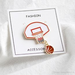 wholesale indian bags UK - New Creative Basketball Backboard Brooch Pin Jeans Bag Brooches Collar Pins Fashion Sports Jewelry Gifts Wholesale
