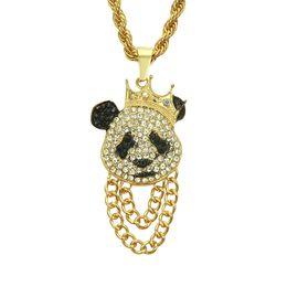 silver chain designs for man 2019 - New design best price Hip hop necklaces for men Animal panda shape Hiphop rap style Crystal pendant necklace Eco-friendl