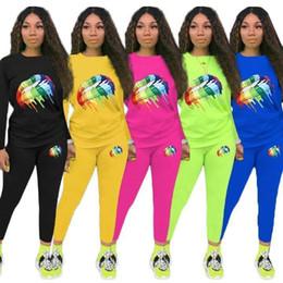 $enCountryForm.capitalKeyWord Australia - Women Casual Sweatsuit Lips Print 2 Piece Set Long Sleeve Hoodies Leggings Designer Summer Clothing Gym Fitness Outfits Running Suit S-3xl