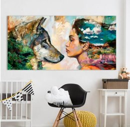 $enCountryForm.capitalKeyWord Australia - Wall Art Canvas Animal Oil Painting Wolf and Girl Wall Pictures For Living Room No Frame Posters and Prints for Home Decor