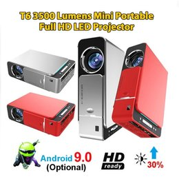 hdmi screens NZ - New T6 Full Hd Led Projector 4k 3500 Lumens HDMI USB 1080p Portable Cinema Beamer Android 9.0 WIFI Same Screen Video Projector