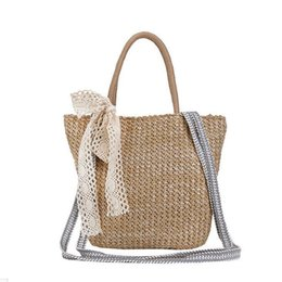 2019 Fashion New Handbags High Quality Straw Beach Women Bag Lace Bow  Ladies Tote Bag Girl Large Capacity Shoulder Messenger Bag 7ff85c484cd88