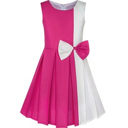 $enCountryForm.capitalKeyWord UK - Girls Dress Color Block Contrast Bow Tie Everyday Party 2019 Summer Princess Wedding Dresses Clothes Size 4-14 J190712