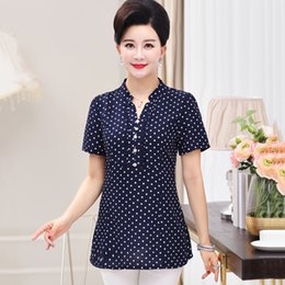 $enCountryForm.capitalKeyWord Australia - Summer Elegant Polka Dot Printed Women T Shirt Tops 5xl Plus Size Mother Clothes Female Short Sleeve Buttons V-neck Casual Tee Y19072001