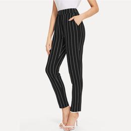 PinstriPe flats online shopping - Waist Elastic Pinstripe Cigarette Pants Black Mid Waist Tapered Carrot Trousers Women Summer Office Ladies Pants