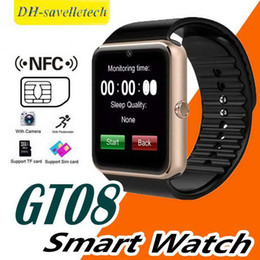bluetooth smart watch sim Australia - GT08 Bluetooth Smart Watch With SIM Card Slot NFC Health Watchs For Android Samsung and IOS Apple Iphone Smartphone Cradle Design