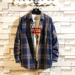 blue red checkered shirt Australia - Plaid Shirt 2019 spring Flannel Red Checkered Shirt Men Shirts Long Sleeve Chemise Homme Cotton Male Check Shirts