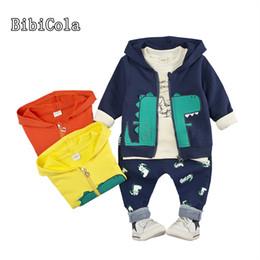 Boys Dinosaur Jacket Australia - good quality infant baby boys clothing sets newborn kids boy 3pcs set cartoon dinosaur jacket+T-shirt+Pants set children clothes set