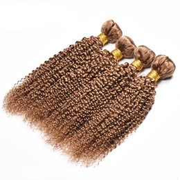 27 pcs human hair extension Canada - B 4 Pcs Human Hair Bundles Kinky Curly 27 #Honey Blonde Brazilian Peruvian Malaysian Virgin Curly Human Hair Weaves Extension Cheap Dea