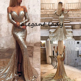 Long sLeeve goLd gLitter dress online shopping - Sexy Sequins Mermaid Prom Formal Dresses with Long Sleeve Glitter Gold Champagne Sweep Train Backless Trumpet Evening Wear Gown Cheap