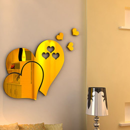 $enCountryForm.capitalKeyWord Australia - Bedroom Sweet Heart Shaped Wall Painting Bathroom Hotel Waterproof Wall Stickers Television Wall Poster 2 Pieces ePacket