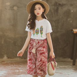 Brand Flower Australia - Summer Girls Clothes Sets Baby Girl Short Sleeve Shirt Top + casual pant beach Suits Kids Clothing Flower Printed Children's Clothes 2pcs