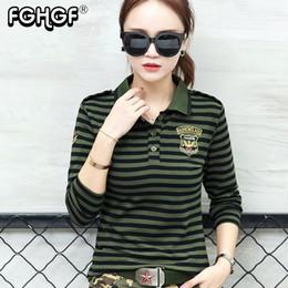 Polo Stripes Australia - High Quality Casual Polo Shirt Plus Size Women Long Sleeve Tops Military Style Cotton Army Green Stripes Slim Polo Shirt M822 Q190426