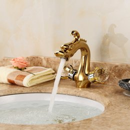 Plate Australia - Gold-plated faucet for cold and hot water of retro all-copper single-hole washbasin faucet for cold and hot water valve of washbasin faucet