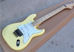 $enCountryForm.capitalKeyWord Australia - free shipping Milk Yellow Electric Guitar with White Pearl Pickguard Pickups,Floyd Rose,Chrome Hardware,offering customized as you request