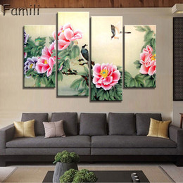 chinese wall canvas prints NZ - 4 PanelS Ancient Chinese Brush Paintings Print Canvas Lotus pond Koi Art Picture For Living Room Study Wall Decors No Frame