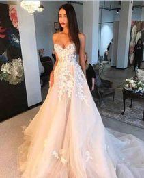 $enCountryForm.capitalKeyWord Australia - Blush Pink A Line Wedding dresses With sweetheart lace Appliqued tulle Skirt Custom Made Beach Wedding Dress 2019