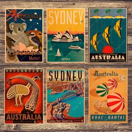 $enCountryForm.capitalKeyWord NZ - Travel to Australia Sydney Koala Canvas Painting Vintage Wall Pictures Kraft Posters Coated Wall Stickers Home Decoration Gift