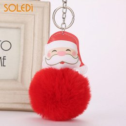 Ring Christmas Ornament Australia - Key Ring Key Buckle Lovely Plush Christmas Party Hanging Bag