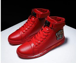 red black tiger print Australia - Brand designer Tiger Print Ace plus velvet embroidery high-top sneakers black leather casual shoes fashion red sneakers men's women's 01